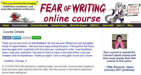 Fear of Writing Online Course